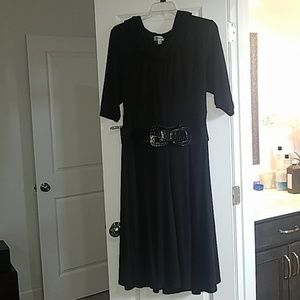 Black dress with attached scarf and belt